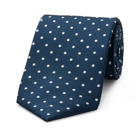 Medium Spot Seven Fold Tie in Navy and White