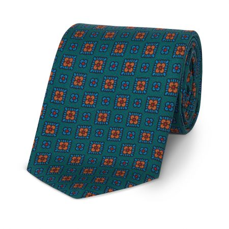 Squared Floral Madder Tie in Green