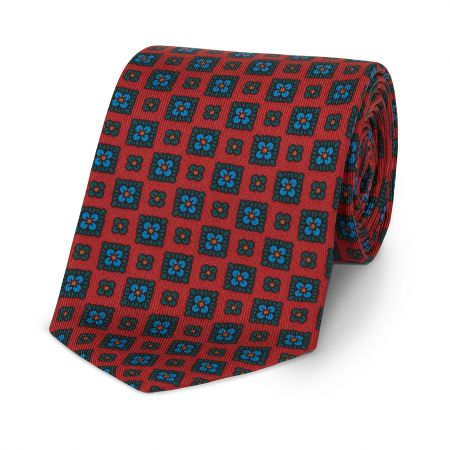 Squared Floral Madder Tie in Red and Green