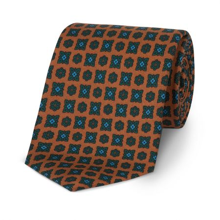 Duo Geometric Floral Madder Tie in Rust