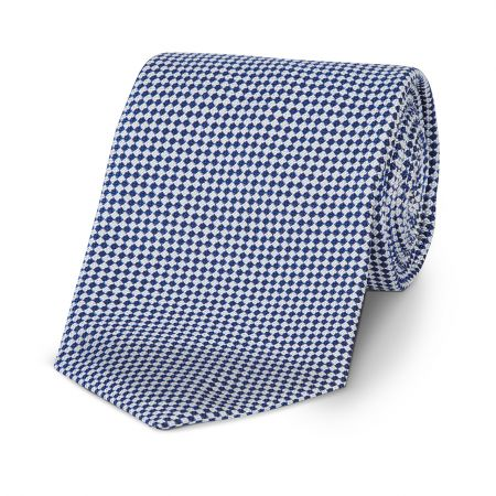 Small Diced Check Woven Tie in Royal