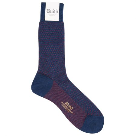 Wool Short Birdseye Socks in Navy and Red