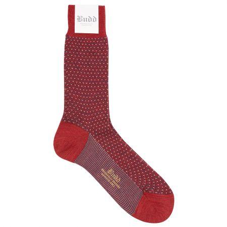Wool Short Birdseye Socks in Red