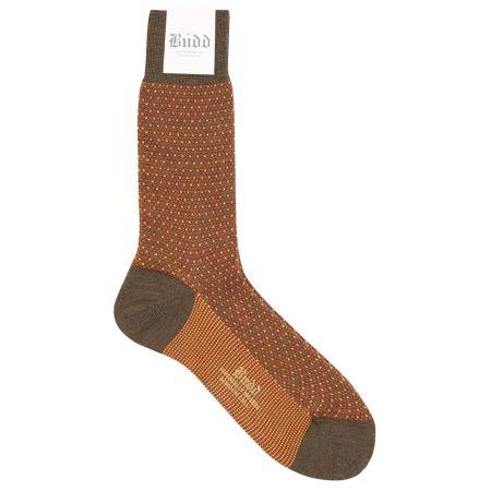 Wool Short Birdseye Socks in Orange and Brown