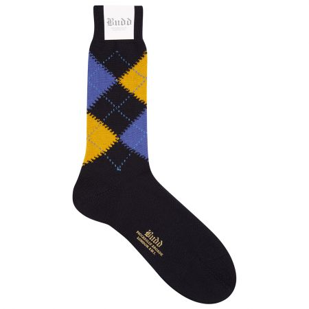 Wool Short Argyle Socks in Dark Navy and Blue