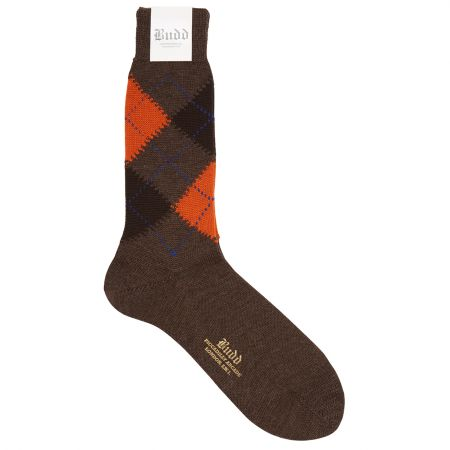 Wool Short Argyle Socks in Brown and Orange