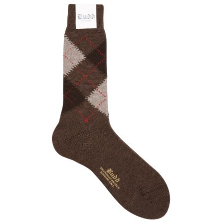 Wool Short Argyle Socks in Brown