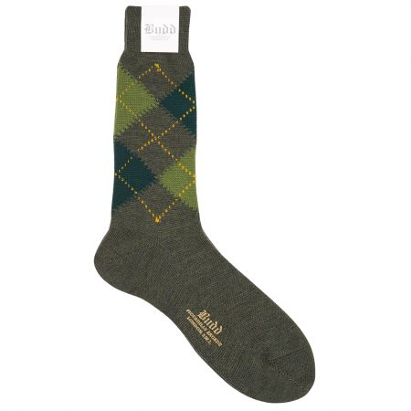 Wool Short Argyle Socks in Green