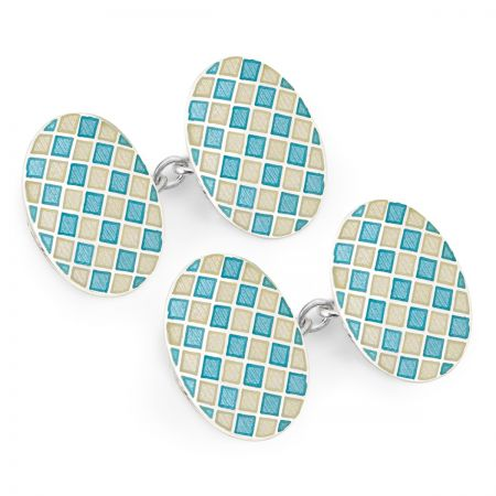 Exclusive Diced Check Cloisonne Chain Cufflinks in Blue