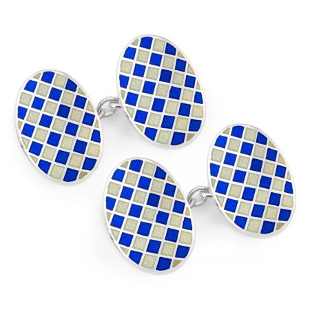 Exclusive Diced Check Cloisonne Chain Cufflinks in Navy