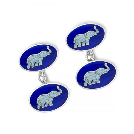 Exclusive Elephants Cloisonne Chain Cufflinks in Blue
