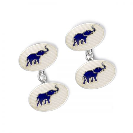 Exclusive Elephants Cloisonne Chain Cufflinks in White