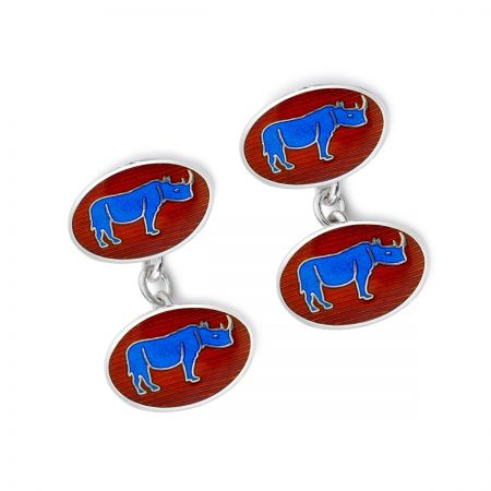 Exclusive Rhino Cloisonne Chain Cufflinks in Blue