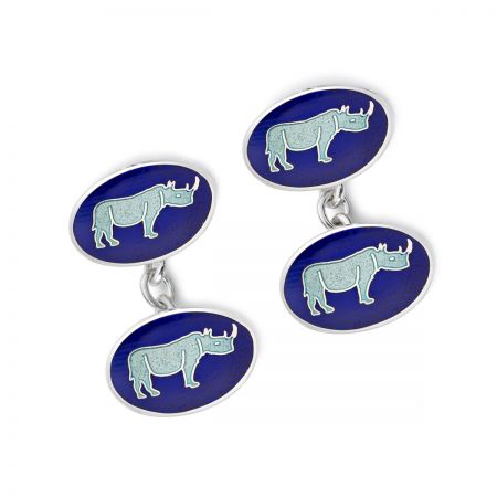 Exclusive Rhino Cloisonne Chain Cufflinks in Silver