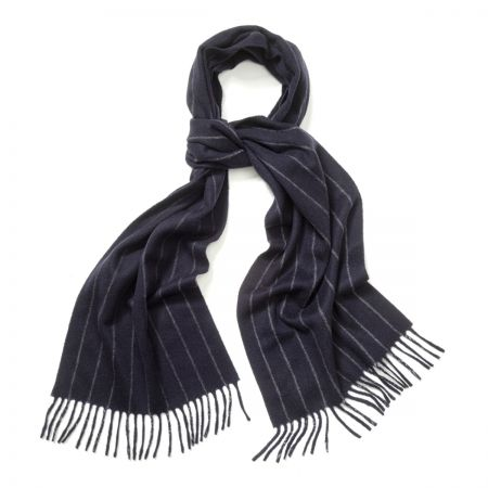 Chalk Stripe Cashmere Scarf in New Blue and Light Grey