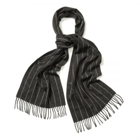 Chalk Stripe Cashmere Scarf in Midsteel and White