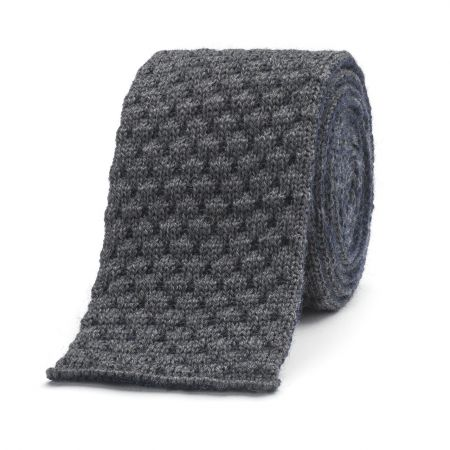 Marle Quilting Knitted Wool Tie with Stripe in Charcoal and Navy
