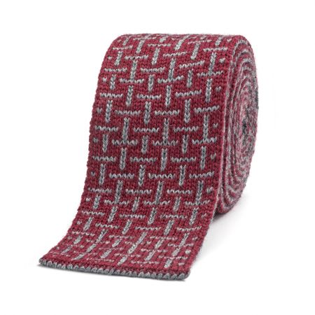 T Cross Knitted Wool Tie in Wine and Grey