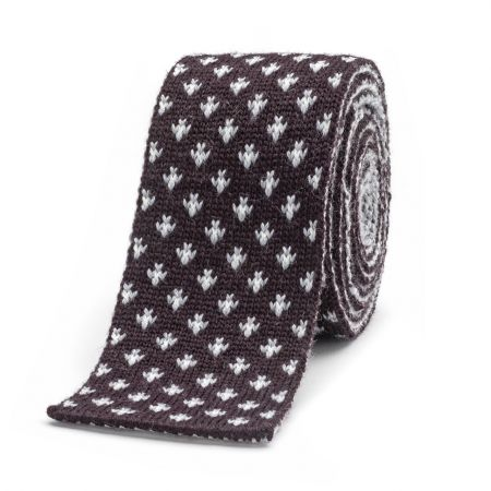Flee Dot Knitted Wool Tie in Dark Wine and Grey