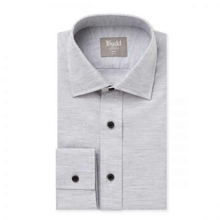 Slim Fit Brushed Cotton Shirt in Grey