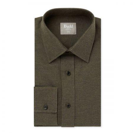 Slim Fit Brushed Cotton Shirt in Khaki
