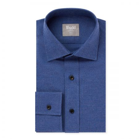 Slim Fit Brushed Cotton Shirt in Petrol Blue