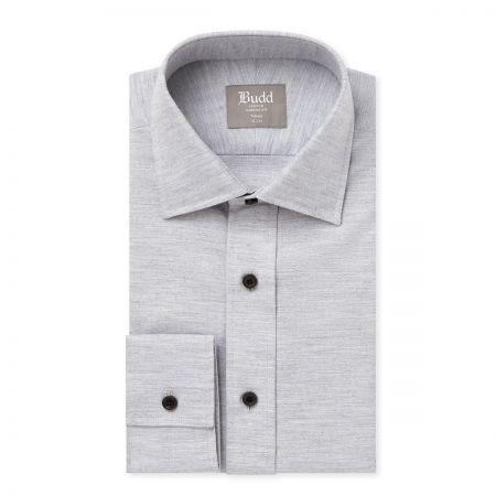 Tailored Fit Brushed Cotton Shirt in Grey