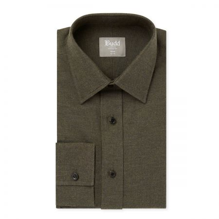 Tailored Fit Brushed Cotton Shirt in Khaki
