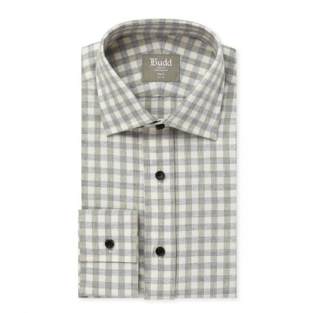 Slim Fit Gingham Brushed Cotton Shirt in Grey