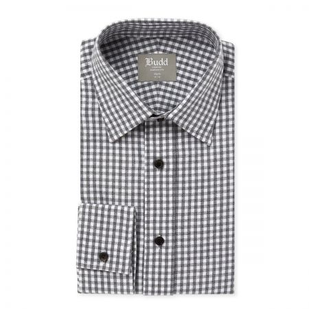 Slim Fit Gingham Check Brushed Cotton Shirt in Slate