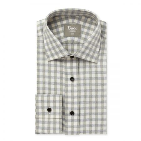Tailored Fit Gingham Brushed Cotton Shirt in Grey
