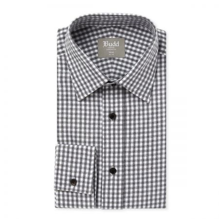 Tailored Fit Gingham Brushed Cotton Shirt in Slate
