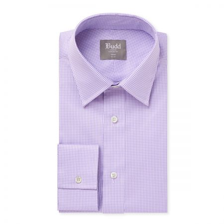 Tailored Fit Check Shirt in Lilac