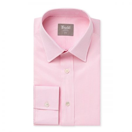 Tailored Fit Twill Check Shirt in Pink