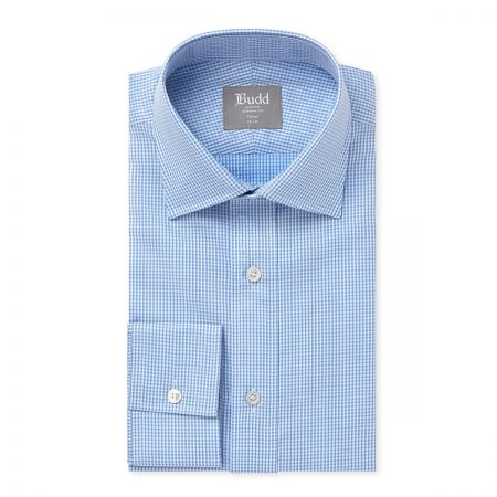 Tailored Fit Twill Check Shirt in Sky
