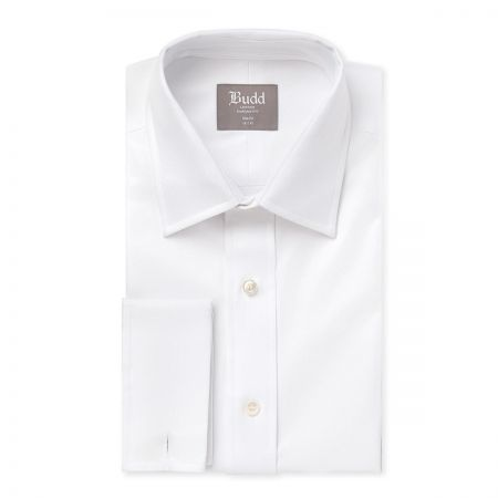Slim Fit Plain Twill Shirt in White