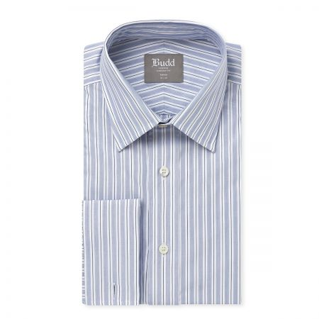 Tailored Fit Pique Stripe Shirt in Blue and White