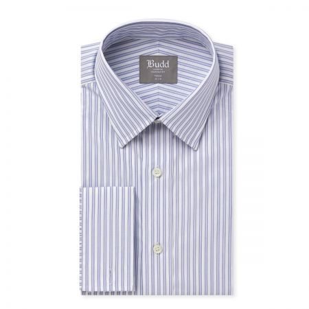 Tailored Fit Piquet Multi-Stripe with Dobby Shirt in Blue and White