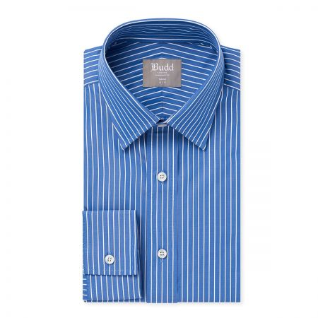 Tailored Fit Stripe Shirt in Blue and White