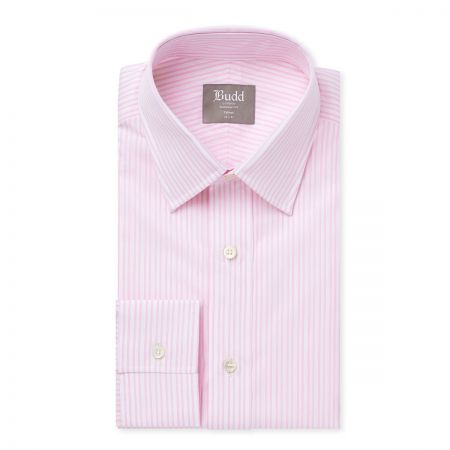 Tailored Fit Stripe Shirt in Pink and White