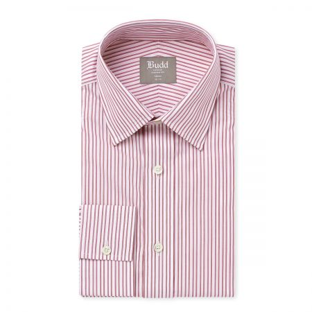Tailored Fit Stripe Shirt in Red and White