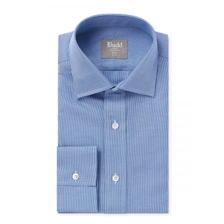 Tailored Fit Puppytooth Shirt in Blue