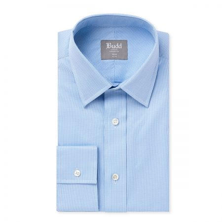 Tailored Fit Puppytooth Shirt in Sky