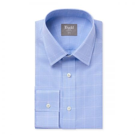 Tailored Fit Prince of Wales Shirt in Sky