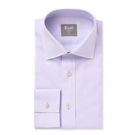 Slim Fit Prince of Wales Shirt in Lilac Collar Detail