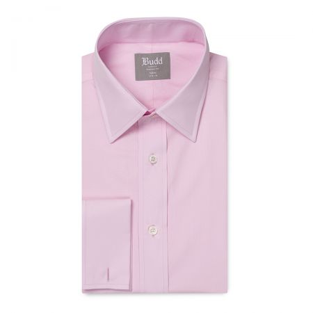 Tailored Fit Plain Poplin Double Cuff in Pink