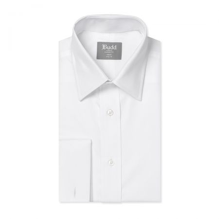 Tailored Fit Plain Poplin Double Cuff in White