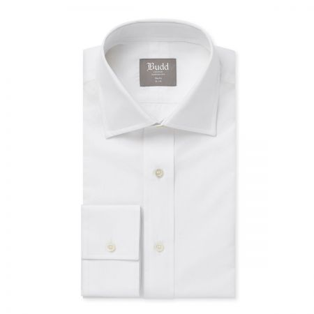 Slim Fit Plain Poplin B/C in White
