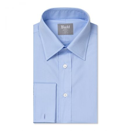 Tailored Fit Plain Poplin Double Cuff in Sky Blue