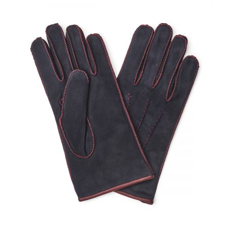 Suede Gloves in Blue